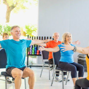 sit down to exercise